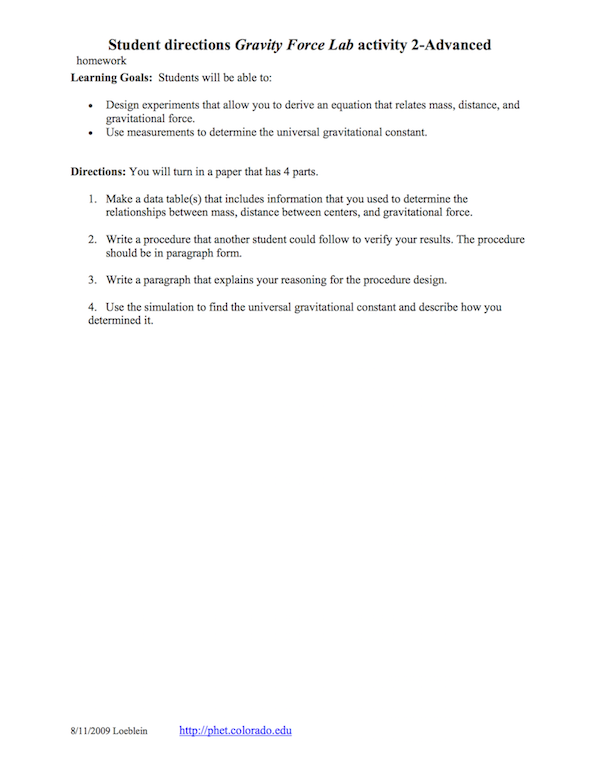 How can I design an effective inclass student worksheet for PhET – Gravitational Force Worksheet